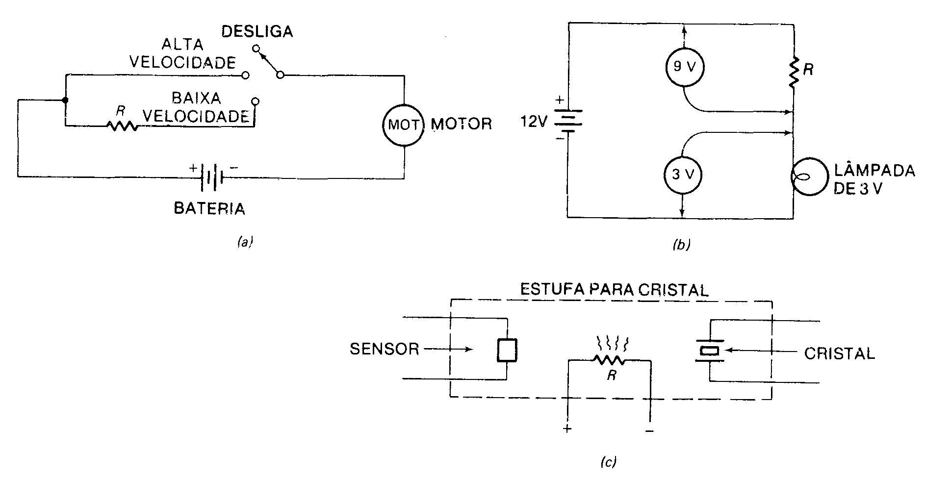 Na Figura a cima a velocidade do motor de corrente contínua é controlada  mudando a intensidade da corrente que passa através do mesmo. e45565ee97